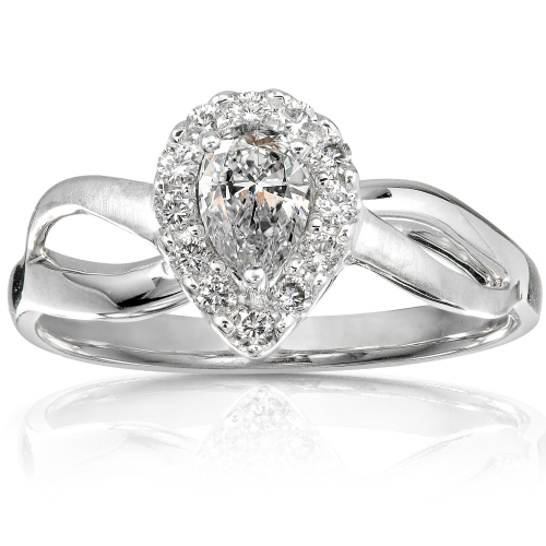 Pear Shape Diamond Ring in 14k White Gold 3/8ct TW